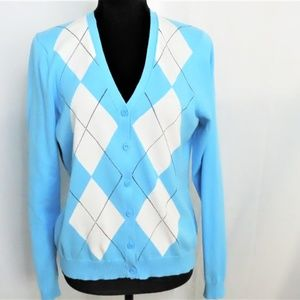 Blue and White Izod Argyle Ladies Cardigan